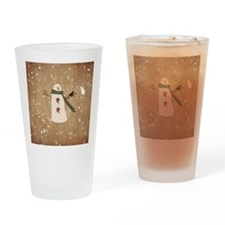 Primitive Snowman Drinking Glass