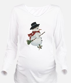 Country Snowman Long Sleeve Maternity T-Shirt