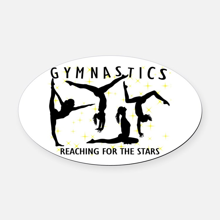 Gymnastics Reaching For The Stars Oval Car Magnet