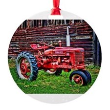 Red Tractor HDR Style Ornament