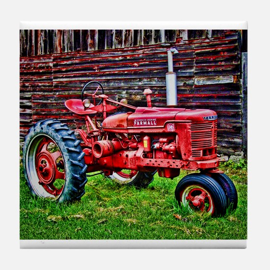 Red Tractor HDR Style Tile Coaster