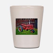 Red Tractor HDR Style Shot Glass