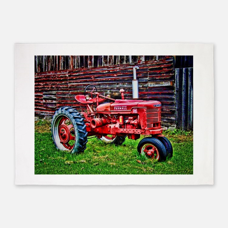 Red Tractor HDR Style 5'x7'Area Rug