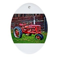 Red Tractor HDR Style Ornament (Oval)