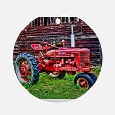 Red Tractor HDR Style Ornament (Round)