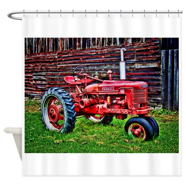Tractor Shower Curtain : Red tractor hdr style shower curtain by admin cp
