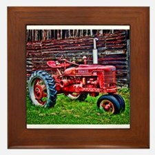 Red Tractor HDR Style Framed Tile