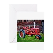Red Tractor HDR Style Greeting Cards