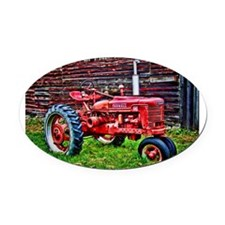 Red Tractor HDR Style Oval Car Magnet
