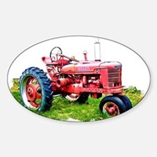 Red Tractor in the Grass Decal