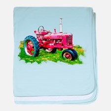 Red Tractor in the Grass baby blanket