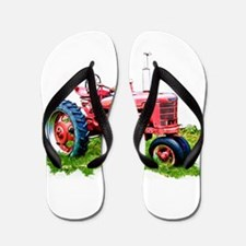 Red Tractor in the Grass Flip Flops