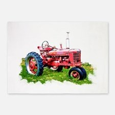 Red Tractor in the Grass 5'x7'Area Rug