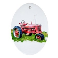 Red Tractor in the Grass Ornament (Oval)