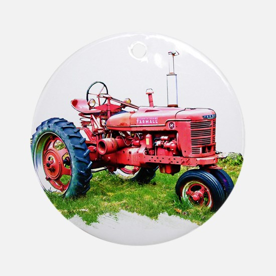 Red Tractor in the Grass Ornament (Round)