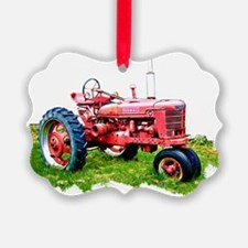 Red Tractor in the Grass Ornament