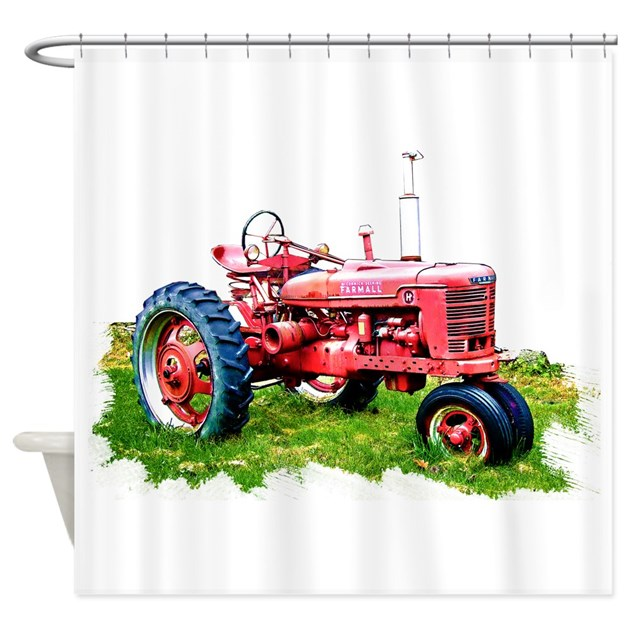 Red tractor in the grass shower curtain by admin cp51336015 for International harvester decor