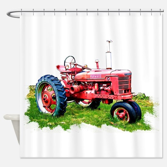 Red Tractor in the Grass Shower Curtain