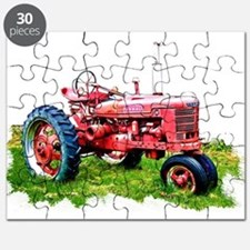 Red Tractor in the Grass Puzzle