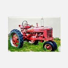 Red Tractor in the Grass Magnets