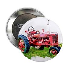 """Red Tractor in the Grass 2.25"""" Button"""