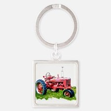 Red Tractor in the Grass Keychains