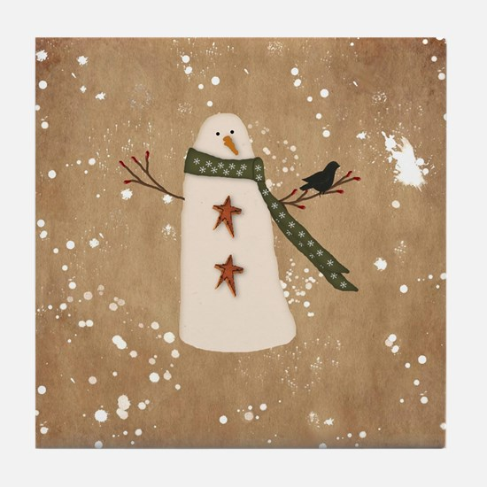 Primitive Snowman Tile Coaster