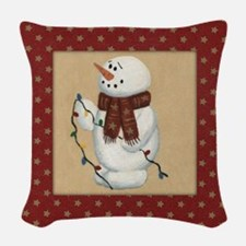 Snowman With Lights Woven Throw Pillow