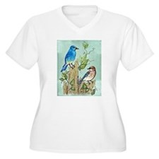 """MOUNTAIN BLUEBIRDS"" Plus Size T-Shirt"