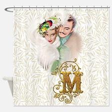Monogram M Art Deco Lovers Shower Curtain