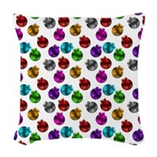 Colorful Christmas Ornaments Woven Throw Pillow