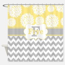 Gray Yellow Blooms Chevron Personalized Shower Cur