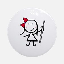 Girl & Bassoon Ornament (Round)