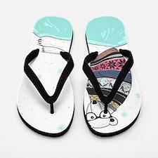 Hipster Polar Bear Flip Flops