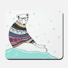 Hipster Polar Bear Mousepad
