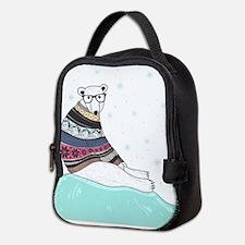 Hipster Polar Bear Neoprene Lunch Bag