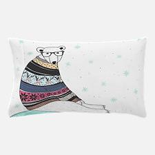 Hipster Polar Bear Pillow Case