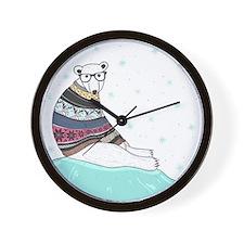 Hipster Polar Bear Wall Clock