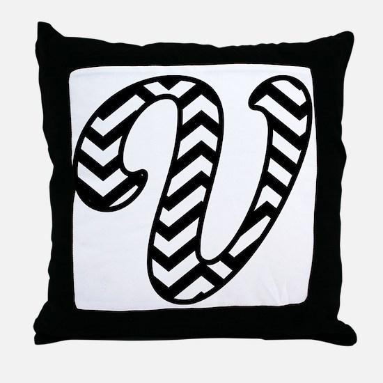 Letter V Chevron Monogram Throw Pillow