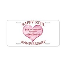 65th. Anniversary Aluminum License Plate