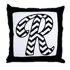 Letter R Chevron Monogram Throw Pillow