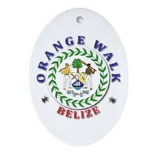 Orange Walk Oval Ornament