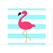 Pink Flamingo on Teal Stripes Invitations