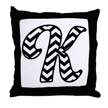 Monogram Letter Throw Pillow : Letter K Chevron Monogram Throw Pillow by MilestonesMonogramTshirts2