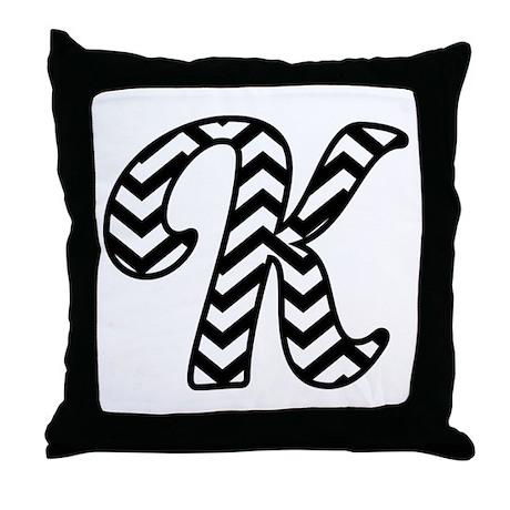 Letter K Chevron Monogram Throw Pillow by MilestonesMonogramTshirts2