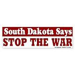 South Dakota Stop War Bumper Sticker
