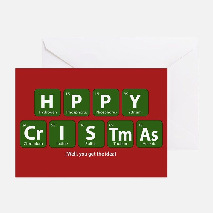 Periodic Happy Christmas Greeting Cards (Pk of 10)