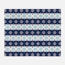 Blue and Mint Fair Isle Knit Pattern Throw Blanket