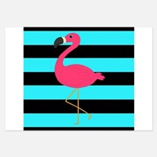 Teal and Black Striped Pink Flamingo Invitations