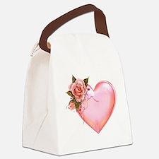 Romantic Hearts Canvas Lunch Bag